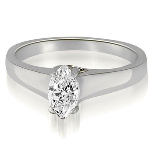 0.50 cttw. 14K White Gold Trellis Solitaire Marquise Diamond Engagement Ring