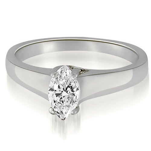 0.75 cttw. 14K White Gold Trellis Solitaire Marquise Diamond Engagement Ring