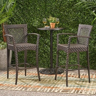 Link to Farley Outdoor Wicker Barstool (Set of 2) by Christopher Knight Home Similar Items in Patio Furniture