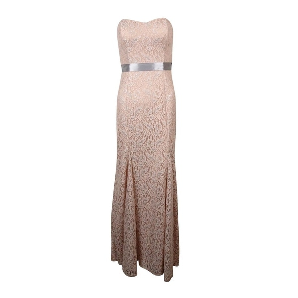 Shop Betsy & Adam Women\'s Shimmering Lace Belted Dress - Blush Pink ...