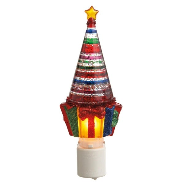 """7.25"""" Striped Glitterdome Christmas Tree and Gifts Night Light - CLEAR"""