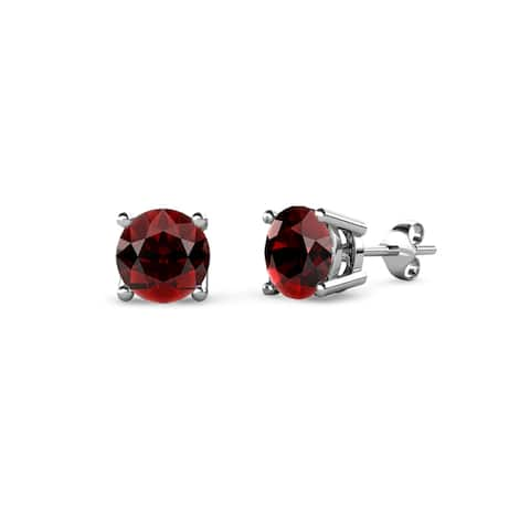 TriJewels Round Gemstone Four Prong Solitaire Womens Stud Earrings Gold