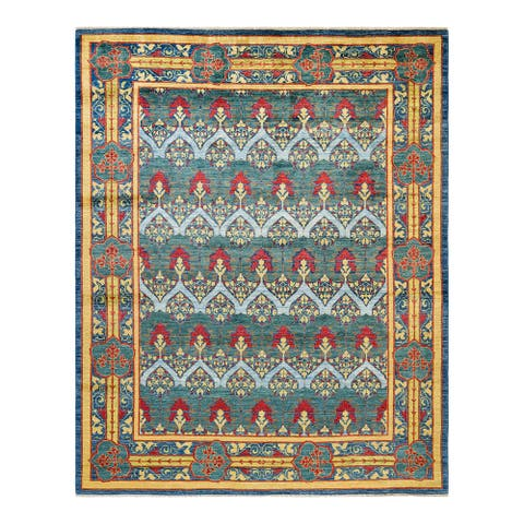 """Arts & Crafts, One-of-a-Kind Hand-Knotted Area Rug - Blue, 8' 1"""" x 10' 4"""" - 8' 1"""" x 10' 4"""""""
