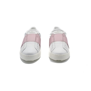 Valentino Women's Open Leather Sneakers With Patent Pink Band Size 38 / 8