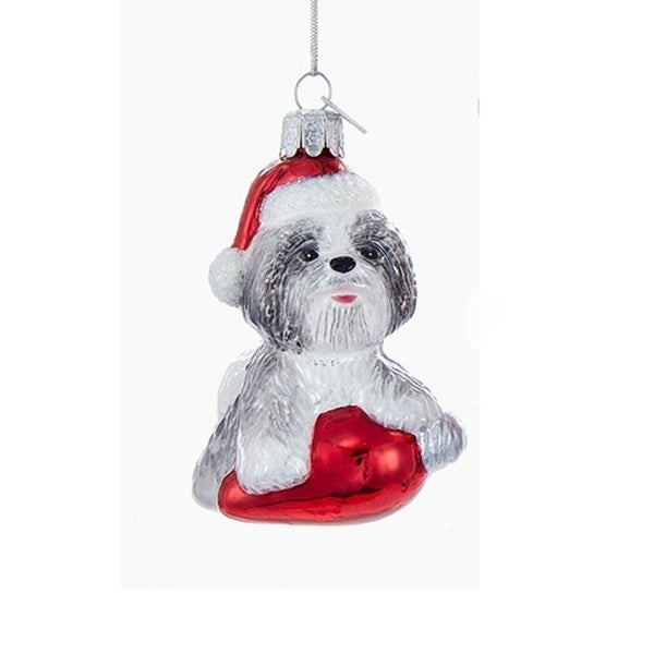 "3.5"" Noble Gems Gray Shihtzu in Santa Hat with Retro C7 Bulb Glass Christmas Ornament"