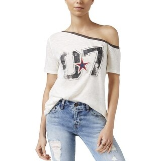 We The Free NEW Ivory Womens Size XS Graphic-Print Burnout Knit T-Shirt