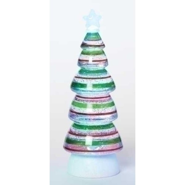 1125 battery operated led lighted red and green swirl striped christmas tree glitterdome - Battery Operated Christmas Trees