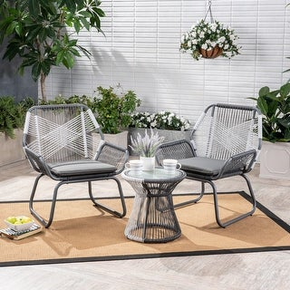 Link to Milan Outdoor 3 Piece Wicker Chat Set by Christopher Knight Home Similar Items in Patio Furniture