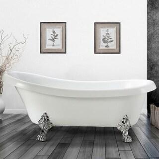 "Miseno MT6328FSC 63"" Freestanding Acrylic Soaking Clawfoot Tub with Reversible D"