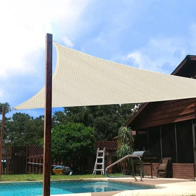 Zenova 10'x10'x10'Triangle Sun Shade Sail Sand Sun Shade Sail Canopy UV Block Awning for Outdoor Patio Garden Backyard - 10*10