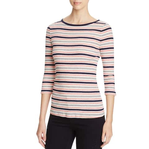 Three Dots Womens Casual Top Ribbed Knit Striped