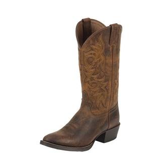 Justin Western Boots Mens Cowboy Round Rugged Bent Rail Tan 2561