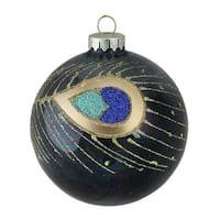 "4"" (100mm) Regal Peacock Glittered Peacock Feather Black Glass Ball Christmas Ornament - GOLD"