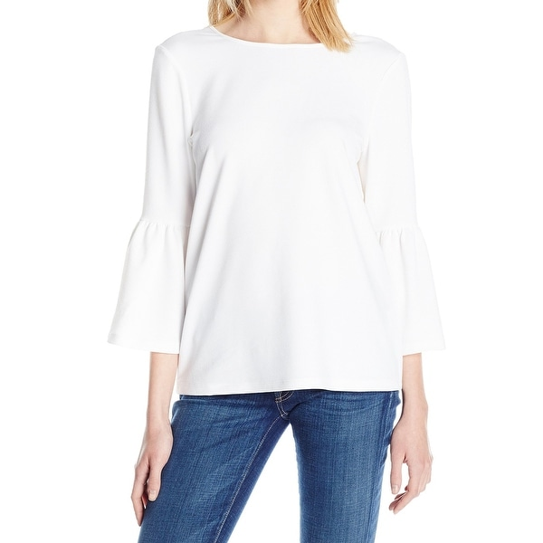 0839f9c10f6ba0 Shop Kensie White Boat-Neck Flutter Sleeve Women's Size Medium M Blouse -  Free Shipping On Orders Over $45 - Overstock - 28267247