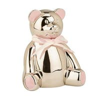 4 in Nickel Plated Highlight Teddy Bear Bank - Pink