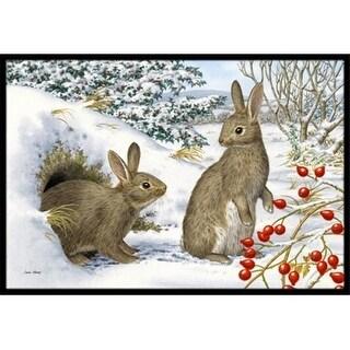 Carolines Treasures ASA2181MAT Winter Rabbits Indoor or Outdoor Mat 18 x 27