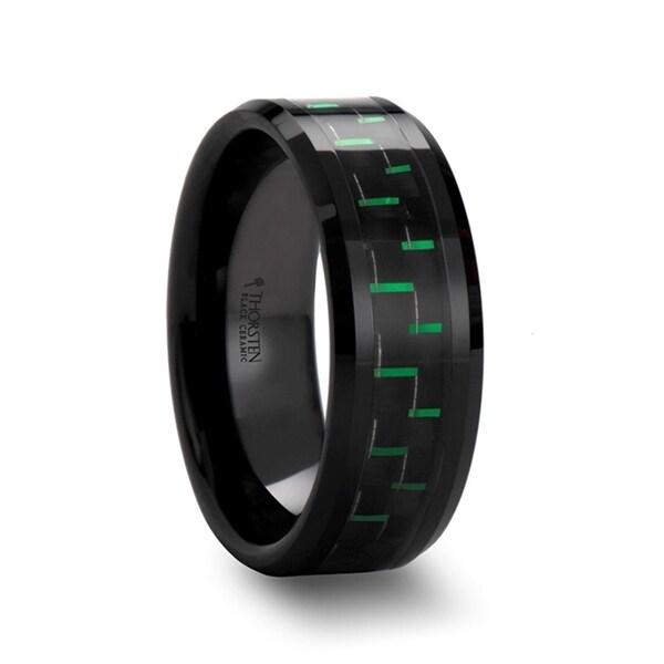 ATILUS Beveled Black Ceramic Wedding Band with Black & Green Carbon Fiber 8mm