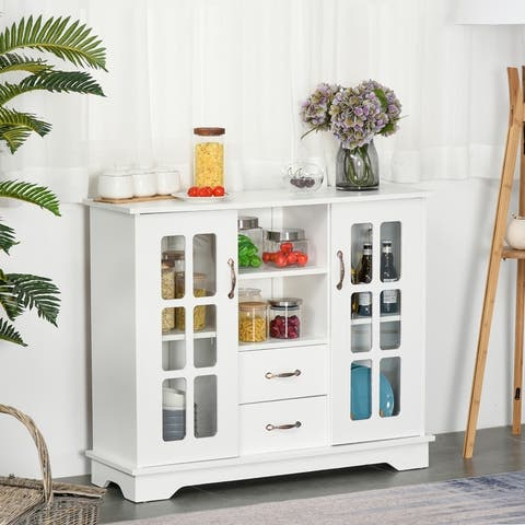 HOMCOM Modern Sideboard Storage Console Cabinet with Glass Door and Drawer for Kitchen, Living & Dining Room