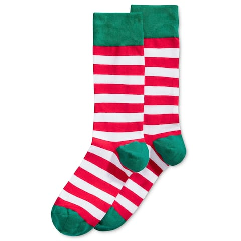 Hot Sox Mens Holiday Stripe Midweight Socks, Multicoloured, 10-13