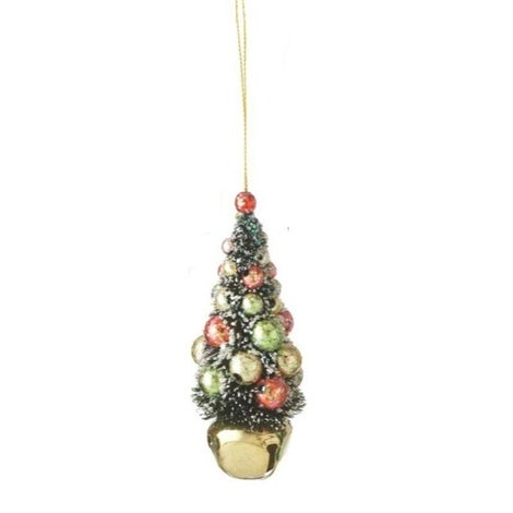 """4"""" Flocked and Glittered Christmas Tree on Gold Jingle Bell Holiday Ornament"""