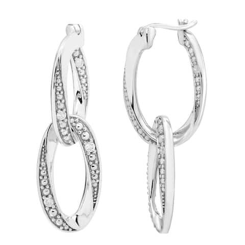 Sterling Silver 1/10cttw Diamond Chain Link Hoop Earring, I3
