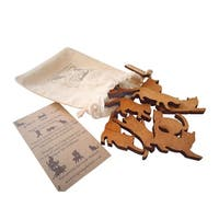 What On Earth Wooden Stack The Animal Game - 12 Dog or Cat Pieces with Storage Bag