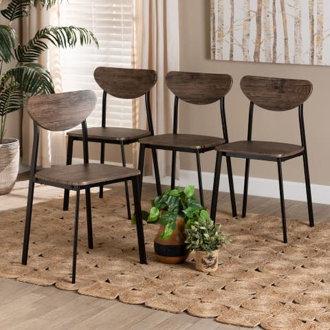 Ornette Mid-Century Modern Metal and Wood Dining Chair Set(4pc)-Walnut