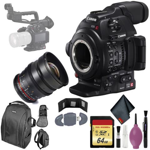 Canon C100 Mark II EOS Camera CMOS AF - 64GB - Rokinon DS 24mm T1.5