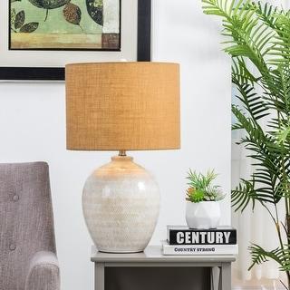 "Glitzhome 25.5""H Cream Ceramic Table Lamp w/Burlap Shade"