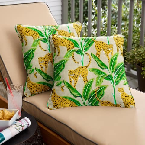 Yellow and Green Corded Indoor/ Outdoor Pillow Set (Set of 2)