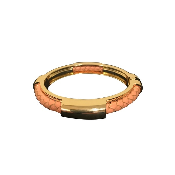 max & MO Blush Leather Braid Gold Bangle Bracelet