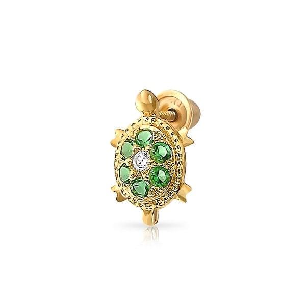 Tiny Green Nautical Turtle Helix Cartilage Ear Lobe Piercing Daith CZ Flower 1 Piece Stud Earring 14K Gold Screwback