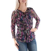 INC Womens Pink Ruffled Sheer With Cami Long Sleeve Zip Neck Top  Size: S