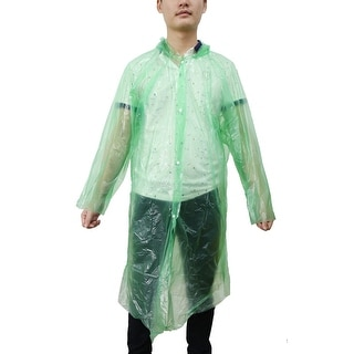 Green One Size Adult Disposable Hooded Raincoat Rain Poncho for Outdoor Travel