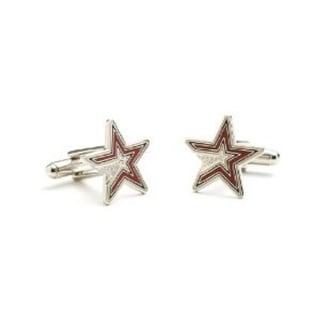 Silver Plated Houston Astros Cufflinks - Red