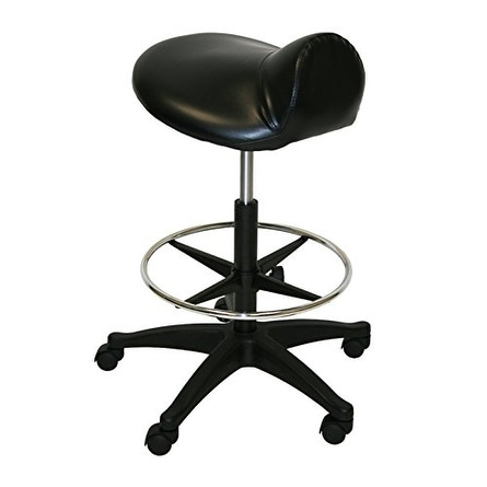 LCL Beauty Extra Large Deluxe Air-Lift Saddle Stool with Adjustable Footrest