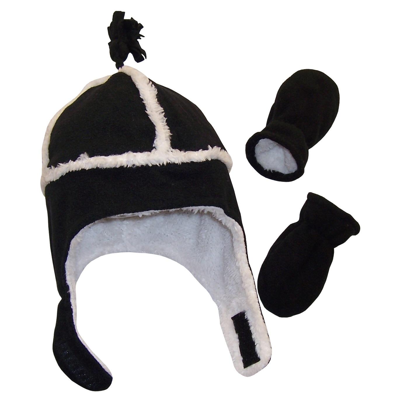 NICE CAPS Little Girls Fully Lined Micro Fleece Hat Mitten Appliques Winter Set