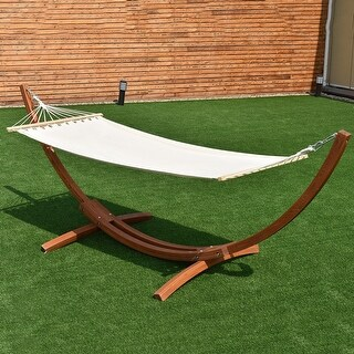 Costway 123''X46''X48'' Wooden Curved Arc Hammock Stand with Cotton Hammock Outdoor