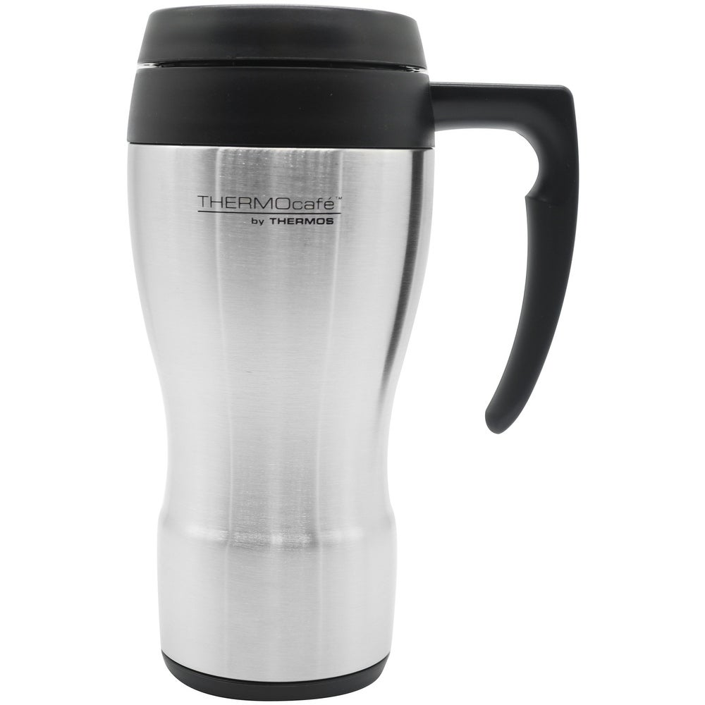 Stainless Steel//Black ThermoCafe Stainless Steel Travel Mug Thermos 24 oz