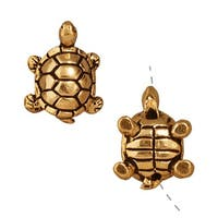 TierraCast 22K Gold Plated Pewter Turtle Beads 15mm (2)