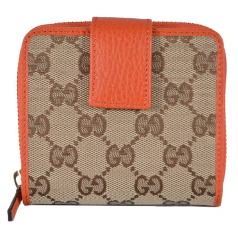 "Gucci Women's 346056 Beige Orange GG Guccissima French Zip Around Wallet - 4"" x 4"""