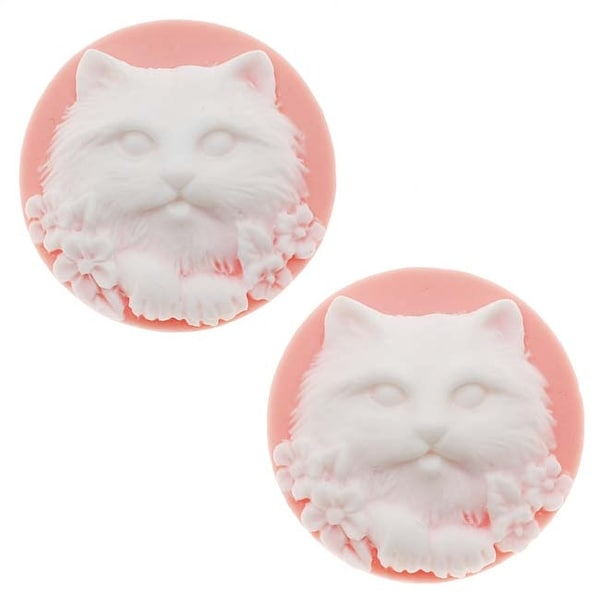 Lucite Round Cameo Pink With White Cat's Face 25mm (2 Pieces)