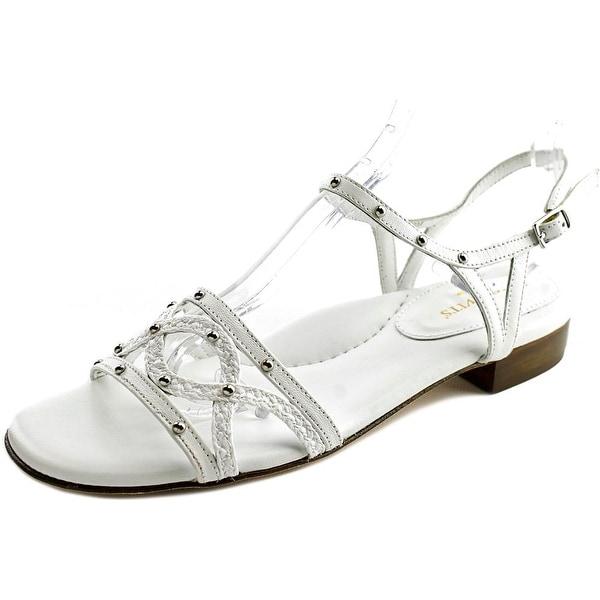 Eric Javits New York Missy Women Open-Toe Leather White Slingback Sandal