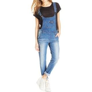JouJou Womens Juniors Overall Jeans Denim Sandblasted