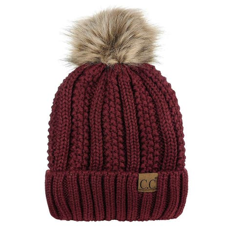 Womens Fuzzy Faux Pom Fleece Lined Beanie