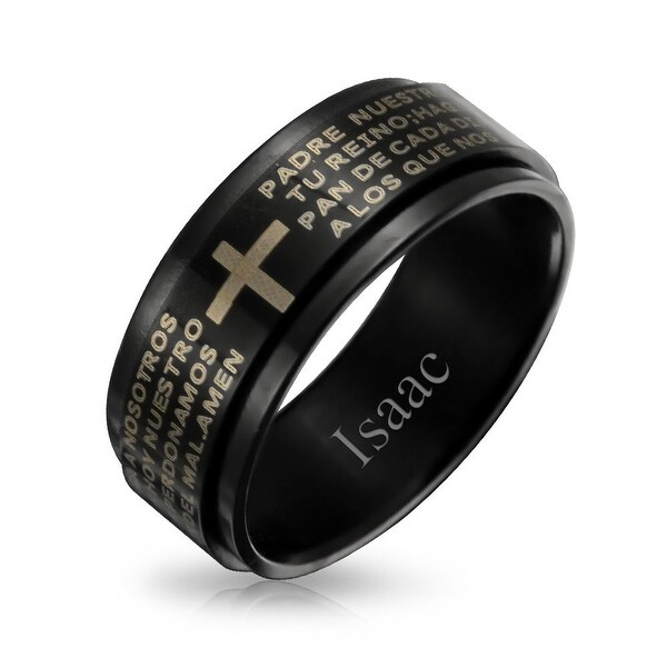 Wedding Bands Religious Bands Stainless Steel Polished with Carbon Fiber Inlay//Yellow IP-plated Cross Ring Size 12.5
