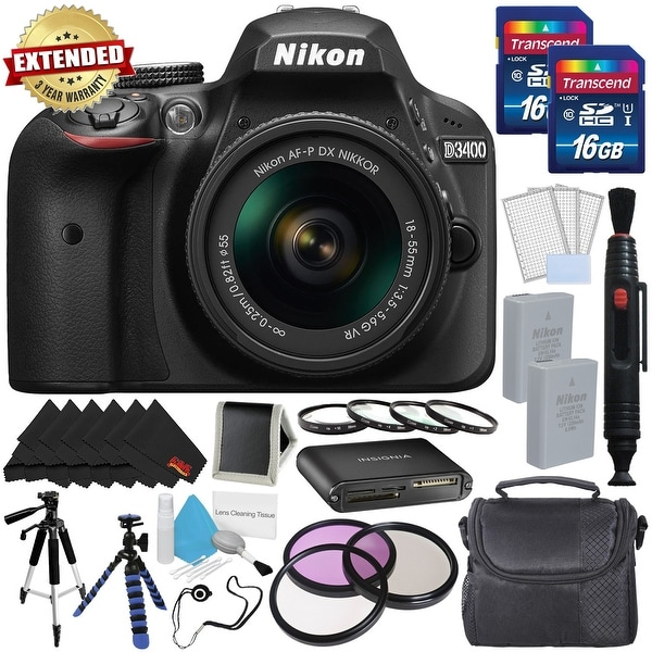 Nikon D3400 DSLR Camera with AF-P 18-55mm VR Lens (Black) 1571 International Model w/ Extra Battery and Memory Cards Bundle