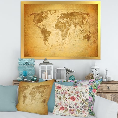 Designart 'Ancient Map of The World X' Vintage Framed Art Print
