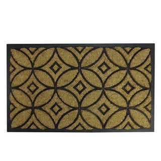 "Decorative Black Rubber and Coir Outdoor Rectangular Door Mat 30"" x 18"""