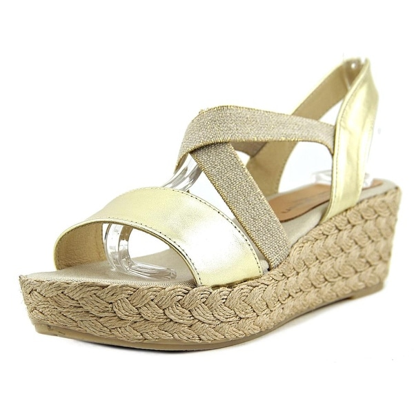 Patricia Green Erica Women Open Toe Canvas Gold Wedge Sandal